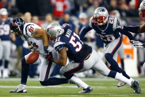Jerod Mayo Forces a Fumble